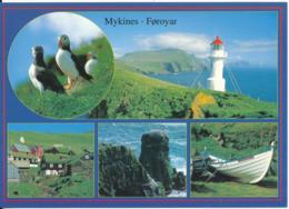 Faroe Islands Postcard Sent To Denmark Thorshavn 2005 (Lundar, Vitin, Mykines Bygd, Pikarsdrangur, Batur) - Faroe Islands