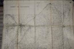 Carte Service Géographique De L'Armée 1927 Camp De Sissonne 71 X 62 Cm - Documenti