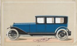 Lot De 2 Gravures (publicités ?) D'automobiles Années 30, Avec Signature Au Crayon - Voitures