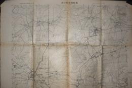 Carte Groupe De Canevas De Tir 1918 Avesnes 75 X 106 Cm - Documenti