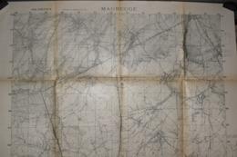 Carte Groupe De Canevas De Tir 1917 Maubeuge 75 X 106 Cm - Documenti