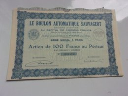 LE BOULON AUTOMATIQUE SAUVAGEOT (1933) - Actions & Titres
