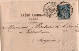 Sage Perforé CL Crédit Lyonnais 1894 - 4 Scans - Paris Rue De Choiseul - Francia