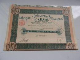 FABOR Fabrique D'orfevrerie Bessaignet (1933) - Actions & Titres