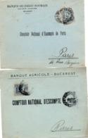Perforé Perfint Perforated : Banque Agricole & Crédit Roumain - 3 Scans - !!! Devant De Lettre Seul - 1881-1918: Charles I