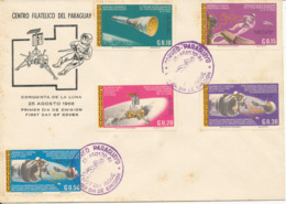Paraguay FDC 25-8-1966 Conquest Of The Moon Complete Set Of 5 With Cachet (some Small Rust Stains On The Cover) - South America