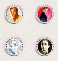 105 X Charles Aznavour Music Fan ART BADGE BUTTON PIN SET 4-6  (1inch/25mm Diameter) - Musique