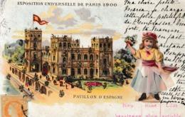 75  PARIS  :  CARTE  SYSTEME  BAROMETRE  -  EXPOSITION  UNIVERSELLE  1900  .  (  PETITE  FILLE  EN  AJOUTIS )  . - Expositions