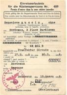 France 2e Guerre Permis Entrer Zone Côtière Interdite. Aucoin, Bordeaux 13/03/42 - Documents Historiques