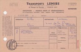 ESTAMPILLE DE CONTROLE SEINE 1961 PARIS Transports LEMIRE Facture Livraison Canapé + Fauteuil - Fiscales