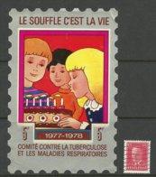 Frankreich FRANCE 1977/78 Anti-Tuberkulose Wohlfahrt Wohltätigkeitsmarke/Aufkleber Sehr Grosses Format Used - Vignetten (Erinnophilie)
