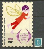 Frankreich FRANCE 1981 Anti-Tuberkulose Wohlfahrt Wohltätigkeitsmarke/Aufkleber Sehr Grosses Format Unenutzt - Vignetten (Erinnophilie)