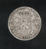 5 Francs Belgique 1876 - Léopold II Roi Des Belges - TTB+ - 09. 5 Francs
