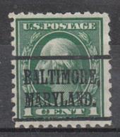 USA Precancel Vorausentwertung Preo, Locals Maryland, Baltimore 1914-L4 TS - Vereinigte Staaten