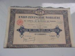 UNION FINANCIERE MOBILIERE (1929) - Actions & Titres