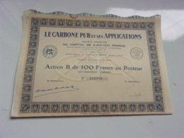 LE CARBONE PUR ET SES APPLICATIONS (1929) - Actions & Titres