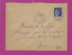 FRANCE Lettre TYPE PAIX Obl VITRY LE FRANCOIS A CHALONS 1937 - Marcophilie (Lettres)
