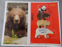 Premier Jour (FDC) Grand Format France 2014 : Les Ours, Avec Le Panda Géant (bloc Feuillet) - FDC