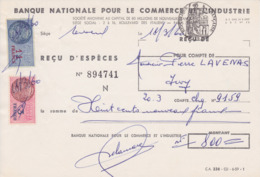 TIMBRE FISCAL 1960 14 Francs Reçu D'espèces BNCI PARIS - Fiscales