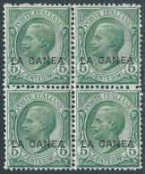 1907-12 LEVANTE LA CANEA 5 CENT QUARTINA LUSSO MNH ** - RB10-2 - 11. Oficina De Extranjeros