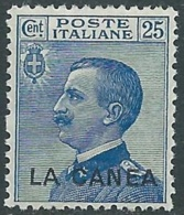 1907-12 LEVANTE LA CANEA EFFIGIE 25 CENT MNH ** - RB2-9 - 11. Oficina De Extranjeros