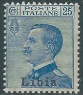 1912-15 LIBIA EFFIGIE 25 CENT I TIPO MNH ** - RB2-8 - Libya