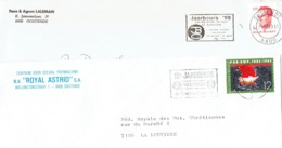 Lot De 2 Flammes Jaarbeurs Oostende 1985 & 1990 Sur Lettres - Postmark Collection