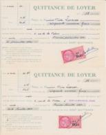 TIMBRE FISCAL 1960 0,25 NF Lot De 2 Quittance De Loyer 27 Ivry La Bataille Rue De La Prison - Fiscales