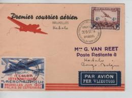 PR7145/ TPA 7 S/CP Avion 1er Courrier BXL-Kabalo + Vignette C.BXL 28/5/37 > Kabalo Congo Belge C.d'arrivée - Luftpost