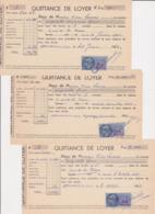 TIMBRE FISCAL 1959 & 1960 54 FRANCS Lot De 3 Quittance De Loyer 27 Ivry La Bataille Rue De La Prison - Fiscales