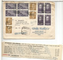 AVILES ASTURIAS CC CERTIFICADA A USA 1956 CON PUBLICIDAD ESPAÑA FILATELIACA JUAN GALE - 1951-60 Lettres