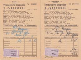 TIMBRE FISCAL 1960 0,25 NF Lot De 2 Bons De Transports Rapides L'ARBRE Estampille De Contrôle Sur Souche + Destinataire - Fiscales