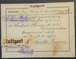 Etiquette COLIS > PRISONNIER DE GUERRE Allemand NANTES ILES DE LA LOIRE GROUPEMENT OUEST De Stuttgart Feldpost - Guerre De 1914-18