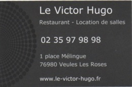 Carte De Visite : Le Victor Hugo : Restaurant Dans L'ancien Bâtiment Du Casino Veules-les-Roses - Autres Collections