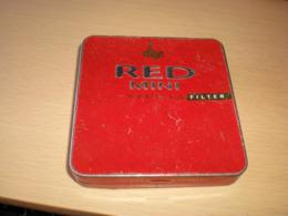 Old Tin Box  Villiger Red Mini Vanilla Filter - Contenitori Di Tabacco (vuoti)
