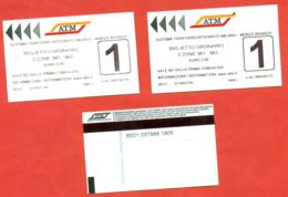 Italia 2019. City Milan. Lot Of Tree Tickets. - Subway