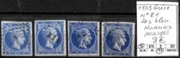 [840928]TB//O/Used-Grèce 1863 - N° 21, 20L Bleu, Nuances Margés - 1861-86 Large Hermes Heads
