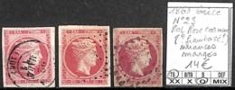 [840942]TB//O/Used-Grèce 1863 - N° 23, 80L Rose Carminé, Nuances (framboisé ?) Nuances, Margés - 1861-86 Large Hermes Heads