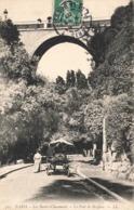 75 Paris 19eme Arrondissement Les Buttes Chaumont Le Pont De Briques Cpa Carte Animée Attelage Cachet 1907 - Distretto: 19
