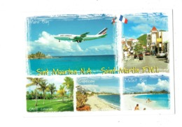 Cpm - Philipsburg, St Maarten, Golf Course - Maho Bay Cupecoy Mullet Bay - Avion Dans Le Ciel AIR FRANCE - Saint Martin