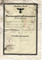 Deutsche Reich - Staatsangehörigenausweis Preußen 1937 D - Historical Documents