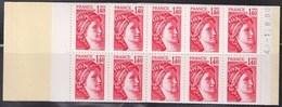 Sabine De Gandon Carnet 2102-C7 Ouvert  Neuf  1f40 Rouge Code Postal Rouge Daté 4.1.8.80 - Markenheftchen