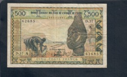 AFRIQUE DE L'OUEST - 500 FRANCS   LOTTO 2817 - Banconote