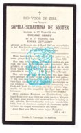 DP Sophia S. De Souter ° Brugge 1843 † 1933 X Ed. Serru Xx Em. Gevaert - Santini