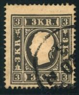 1858, 3 Kreuzer Schwarz In Type I (1b) Gestempelt. - Ferchenbauer  11 I Type Ib - 325,- € - Usados