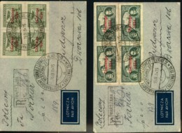 """1934, Two Airmail Covers Franked With 20 And 30 Gr. Airmail Surcharged """"CHALLENGE 1934"""" In Blocks Of Four - Covers & Documents"""