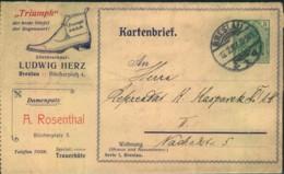 1907, Privater Anzeigen-Kartenbrief (BRESLAU), Gelaufen. PAK 1 F 5(01 - Allemagne