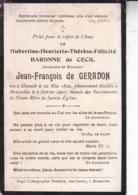 HASSELT Hubertine De CECIL Veuve De GERADON 1822-1907 Souvenir Mortuaire - Obituary Notices