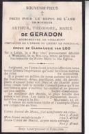 LIEGE WANZOUL Arthur De GERADON Bourgmestre De VINALMONT époux VAN LOO 1847 - 1914 Souvenir Mortuaire - Obituary Notices