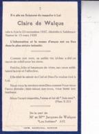 AYE SALZINNES Claire De WALQUE 1937-1939souvenir Mortuaire - Obituary Notices